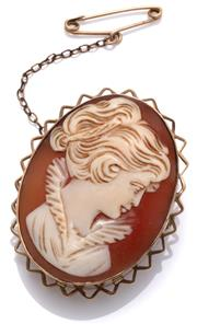 Sale 9020 - Lot 347 - A VINTAGE 9CT GOLD CAMEO BROOCH; shell cameo portrait of a lady in a gold frame with resin filled back, size 36 x 31mm, with safety...
