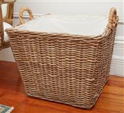 Sale 9081H - Lot 87 - A large fabric wicker basket of square form with handles