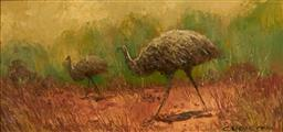 Sale 9109A - Lot 5048 - Colleen Parker (1944 - 2008) Emu & Chick oil on board 14 x 29 cm (frame: 24 x 43 x 3 cm) signed lower right