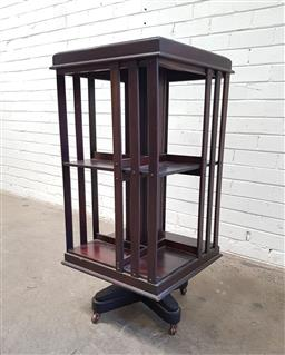 Sale 9126 - Lot 1115 - Late Victorian/ Edwardian Revolving Bookcase, of two tiers (103 x w:49 x d:49cm)