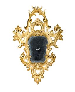 Sale 9123J - Lot 168 - Antique Italian / French baroque style carved gilt wood wall mirror Ht: 77 cm
