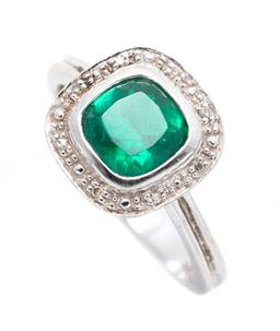 Sale 9253J - Lot 471 - A 9CT WHITE GOLD GEM AND DIAMOND RING; bezel set with a cushion cut synthetic Russian emerald to surround of 8 single cut diamonds (...
