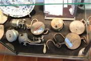Sale 8116 - Lot 69 - Metal Meat Grinder with Other Metal Wares including Fishing Reel & Scales