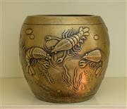 Sale 8270 - Lot 72 - A Chinese bronze pot, raised shrimps and weeds design, marks to base, H 17.5cm