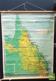 Sale 8409 - Lot 1008 - Vintage Chas. H. Scally Educational Map of Queensland