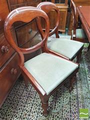 Sale 8428 - Lot 1076 - Set of Six Victorian Mahogany Dining Chairs, with balloon backs, drop in seats & turned legs