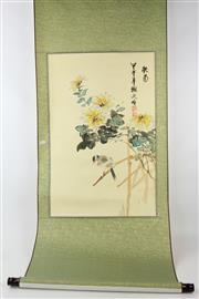 Sale 8563 - Lot 14 - Bird Amongst Branches Chinese Scroll