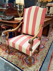 Sale 8693 - Lot 1069 - Louis XIV Style Walnut Armchair, with high back upholstered in pink & cream stripes, on turned legs with stretcher base