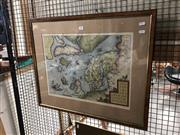 Sale 8797 - Lot 2122 - Framed Print of a Map