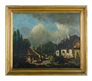Sale 8888H - Lot 27 - An antique French School Horse & Figures in a Village oil on canvas on board 33 x 41cm unsigned