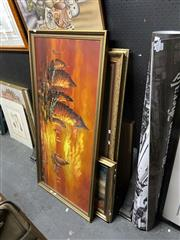 Sale 8910 - Lot 2084 - Group of Assorted Retro Paintings incl. Landscapes, Vintage Junk Ships Scene, Abstract Art