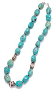 Sale 9010H - Lot 43 - A Turquoise and silver bead necklace (some crazing and repairs), beads are approx 1.5cm x 2cm, Length 55cm