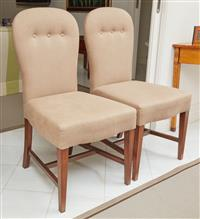 Sale 9090H - Lot 65 - A pair of cafe olait linen upholstered button back dining chairs, Height of back 105cm