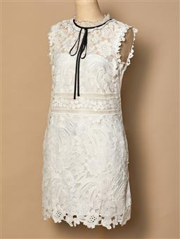Sale 9093F - Lot 80 - A Self portrait lace dress with black ribbon around the collar, size 10