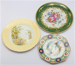 Sale 9099 - Lot 202 - A group of three cabinet plates including Shelley, Mikasa and another, Diameter of largest 30cm