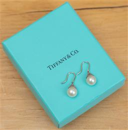 Sale 9165H - Lot 109 - A pair of Tiffany and Co Sterling Silver and pearl earrings in original box.