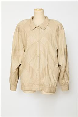Sale 9095F - Lot 89 - A vintage Bally soft beige leather and suede patchwork jacket, size 14.