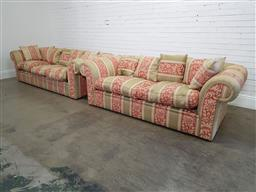 Sale 9174 - Lot 1007 - Oversized fabric 2 seater and 3 seater lounges in regency pattern (h:72 x w:260 x d:110cm)