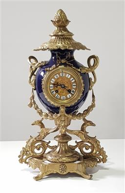 Sale 9215 - Lot 1085 - French Chinoiserie Style Brass & Ceramic Mantle Clock, with two train movement, the Royal blue vase form body, with acorn finial cov...