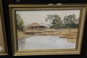 Sale 8068A - Lot 27 - John Milenkovic - Homestead by a Pond 29 x 39.5cm