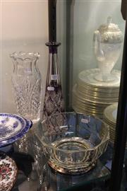 Sale 8189 - Lot 111 - Purple Cut Crystal Vase with Another Vase & Bowl