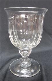Sale 8298 - Lot 68 - A fine Victorian facetted crystal large goblet, C: 1850  Ht: 17cm