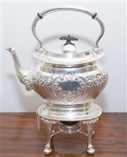 Sale 8308A - Lot 101 - English silverplate afternoon tea kettle on stand. Ht: 31cm