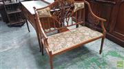 Sale 8368 - Lot 1088 - Late Victorian Rosewood Settee, with pierced & inlaid splats, upholstered in a striped fabric