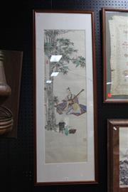 Sale 8362 - Lot 283 - Framed Chinese Painting of a Man Playing a Musical Instrument, signed, H129cm x W46cm (crack to glass)