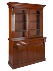 Sale 8379A - Lot 66 - Victorian Mahogany Four Door Bookcase  Glazed upper display section with adjustable shelves English, circa 1880 H: 216cm W:...