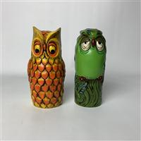 Sale 8725A - Lot 11 - Pair of mid century modern Japanese porcelain owls by Takahashi. Height 24cm (used to cover hairspray containers)