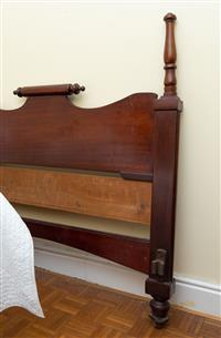 Sale 8735 - Lot 57 - A 19th century and later rolling pin top cedar bedhead, 15 x 141cm