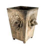 Sale 8888H - Lot 28 - A Vintage garden planter decorated with four lion heads on ball feet. 43 x 30 cm
