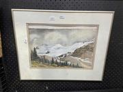 Sale 8927 - Lot 2045 - Mieke Blary - Along The Icefields Parkway Framed Watercolour 23cm x 36cm