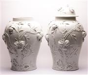 Sale 9023 - Lot 77 - A Large Pair Of White Glazed Chinese Pots, Decorated With Peaches 1 missing lid (H: Without lids 60cm) (Some losses)