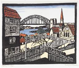 Sale 9099A - Lot 5080 - Margaret Preston (1875 - 1963) - Sydney Bridge 25.5 x 31 cm (frame: 67 x 67 x 3 cm)