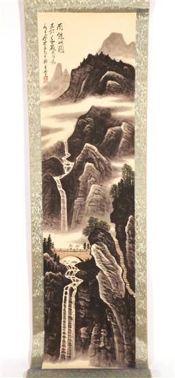 Sale 9101 - Lot 2437 - A Mountain Scene Chinese Scroll