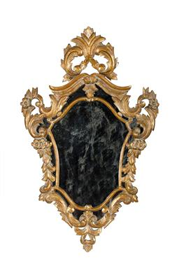 Sale 9123J - Lot 169 - Antique Italian / French baroque style carved gilt wood wall mirror Ht: 80 cm