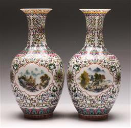 Sale 9136 - Lot 217 - A pair of fine porcelain Chinese vases depicting mountain and village scene (H 30.5cm)