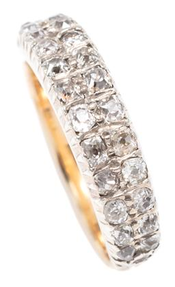 Sale 9156J - Lot 389 - A 9CT GOLD HALF HOOP DIAMOND RING; set with 26 old round cut diamonds in 2 rows, some abraded size M, width 5.3mm, wt. 3.78g.
