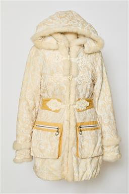 Sale 9095F - Lot 69 - A Just Cavalli, fur trimmed jacket in cream patterned oriental style, size M.