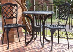 Sale 9190H - Lot 459 - A three piece cast metal painted outdoor setting.