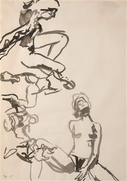 Sale 9244 - Lot 545 - BEN QUILTY (1973 - ) Nude Studies, 2015 ink on paper 105.5 x 71 cm (frame: 120 x 85 x 4 cm) signed and dated lower left