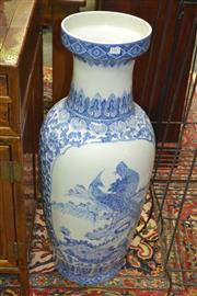 Sale 8171A - Lot 9 - A large Chinese blue and white vase, with birds of paradise, H 92cm