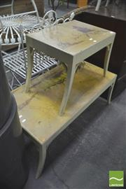Sale 8307 - Lot 1042 - Chinoiserie Coffee Table w Hand Painted Top  & Similar Side Table