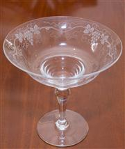 Sale 8308A - Lot 98 - An English Stuart lead crystal comport etched with grape and vine. Ht: 16cm