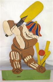 Sale 8460C - Lot 42 - Figure of a Cricketer. A Batsman Being Bowled. Made from cardboard (some repairs). Signed by Sydney Smith, Manager of Australian Cri...
