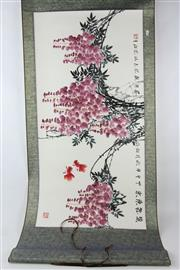 Sale 8563 - Lot 369 - Wisteria Plant Chinese Scroll