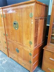 Sale 8566 - Lot 1143 - Two Piece Oriental Wardrobe with 4 Doors and 2 Drawers (175 x 110 x 65)