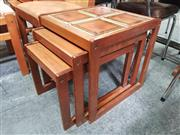 Sale 8723 - Lot 1060 - Set of 1960s Teak Nest of Tables with Tiled Top